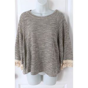 Anthro Eri + Ali Gray Knit 3/4 Bell Sleeve Sweater